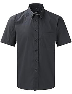 Russell Collection, camicia a maniche corte, in twill, stile classico