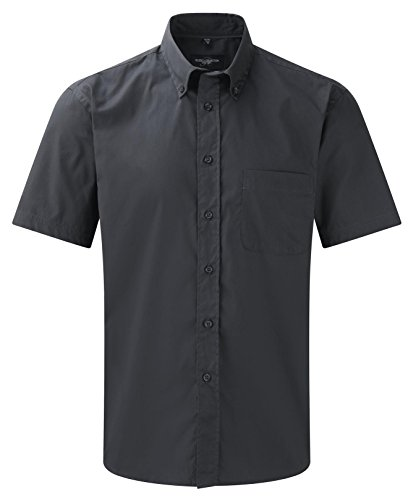 Russell Collection Men's Classic Twill Short Sleeve Shirt Zinc