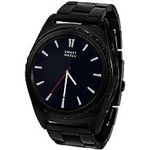 Jiazy Bluetooth Smartwatch con la pulsera Monitor del ritmo cardíaco / la pulsera elegante Deportes de la salud / soporte largo / SIM TF Reloj elegante / notificación del mensaje de la ayuda para Antroid Sumsung HUAWEI (QR no son compatibles con IOS) (raya inoxidable negra)