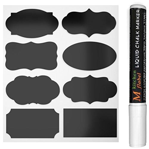 40 Schwarz Tafel-Sticker, Abnehmbare Reusable Vinyl-Sticker, Chalkboard Etiketten Mit flüssige Kreide Marker für Gläser, Lebensmittel, Gewürz, Brille, Büro einfach organisieren