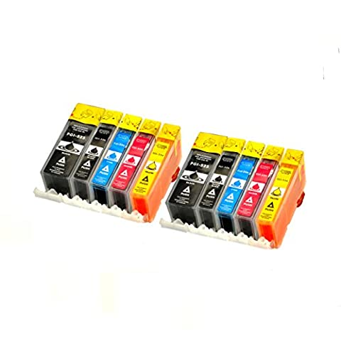 10 Logic-Seek® Druckerpatronen MIT CHIP und Füllstandanzeige, kompatibel zu PGI-525BK, CLI-526C, CLI-526M, CLI-526Y und CLI-526BK