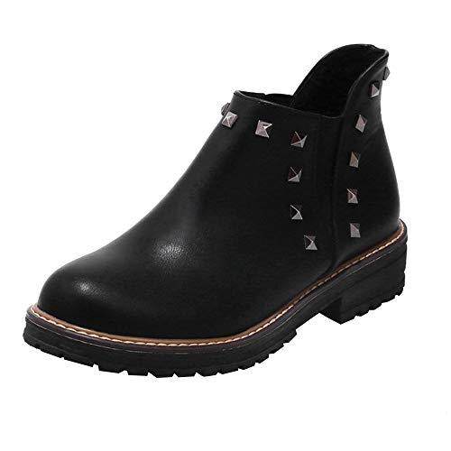 Mymyguoe Zapatos de Invierno Mujer,Mujeres Planas Botines Cortos con Remache de Cuero Black Friday Botas Zapatos Tacon bajo Fondo Plano Botas Color sólido Talón Grueso