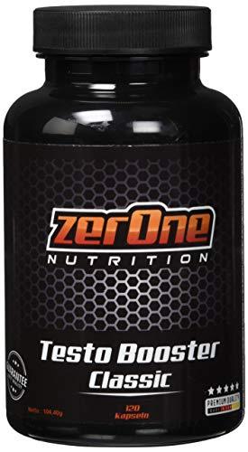 Zerone Testo Booster Classic 870 mg Kapsel | 120 Kapseln Vitamin E D B3 L Arginin Maca Pulver | Deutsche Produktion Hochwertige Qualität Kapselgröße 00