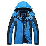Herren Wasserdichte Hoodie Regenjacke Atmungsaktiv Atmungsaktiv Softshell Funktionsjacke Schnelltrockend Jacken Jungen Outerwear (Color : Blau Dünn, Size : L)