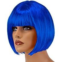 HAAC Peluca Pelo Corto Color Azul Oscuro Azul para Fiesta de Carnaval