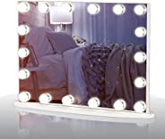 LUXFURNI Vantity Tabletop Makeup Hollywood Mirror Dimmable Light Touch Control 18 Cold/Warm LED Lights, Detach