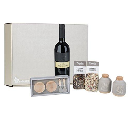 Geschenkbox Liebe, Glück und Zeit Räder Holz-Schalen mit Steingut-Löffel-Set, Salz&Pfeffer, 0,75 Liter Rotwein Negroamaro Intrigo alles in hochwertiger Präsentbox - 106 Knoblauch