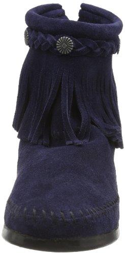 Minnetonka Back Damen Kurzschaft Mokassin Boots Blau (Navy)