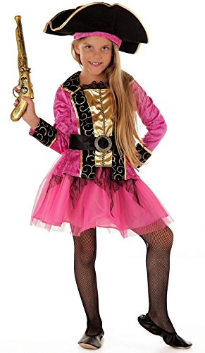 Magicoo Piraten-Prinzessin Piratenkostüm Kinder Mädchen pink Pirat-Kostüm Piratin inkl. Piratenkleid & Hut - Deluxe Pirat Kind Kostüm