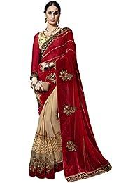 Aagaman Fashions Mujer india divino marrón bordado Faux Georgette, Saree de terciopelo