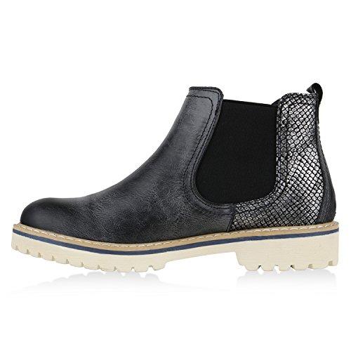 Damen Stiefeletten Chelsea Boots Metallic Profilsohle Schuhe Schwarz