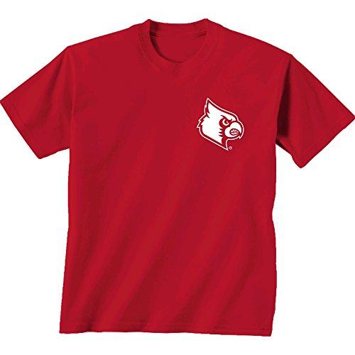 New World Grafiken Louisville NCAA Initiale Muster Kurze Ärmel, Unisex, Louisville Initial Pattern, Cc Red -