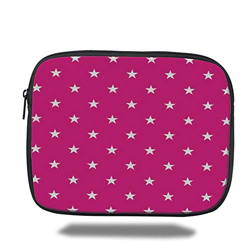 Laptop Sleeve Case,Hot Pink,Symmetrical Pattern with White Stars Girlish Pattern Lovely Retro Party Tile,Hot Pink White,Tablet Bag for Ipad air 2/3/4/mini 9.7 inch - Ultra White Tile
