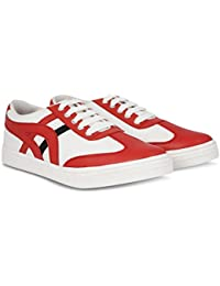 Blinder White Red Lace-up Casual Sneakers Shoes For Men On Amazon.in