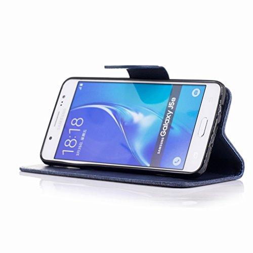 Yiizy Samsung Galaxy J5 (2016) / J510F / J510M Custodia Cover, Fiore Di Farfalla Design Sottile Flip Portafoglio PU Pelle Cuoio Copertura Shell Case Slot Schede Cavalletto Stile Libro Bumper Protettiv Blu Profondo