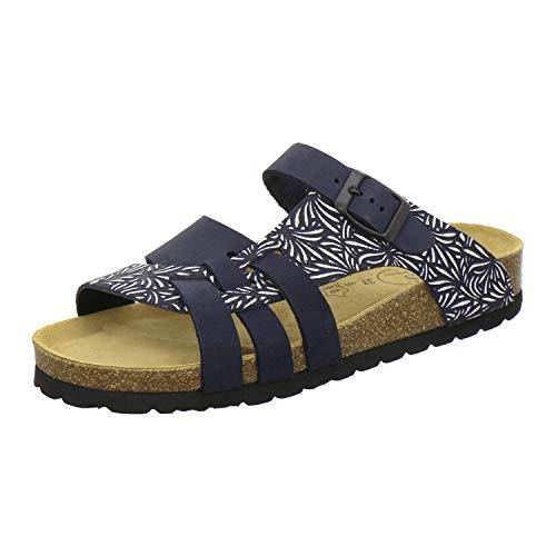 AFS-Schuhe 2122 Damen Pantoletten aus echtem Leder, hochwertige Hausschuhe für Frauen mit Eva-Sohle, Made in Germany Größe 43 EU Blau (Navy) (Frauen Größe Große Schuhe)