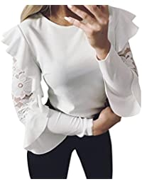 IMJONO Mujeres Camiseta Con Manga Larga Encaje costura O-cuello camiseta Pullover Tops Blusa T-shirt