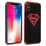 DC Comics Coque Apple iPhone X/XS Coque Design Logo Superman Protection Silicone Gel Souple Ultra-Fine - Noir