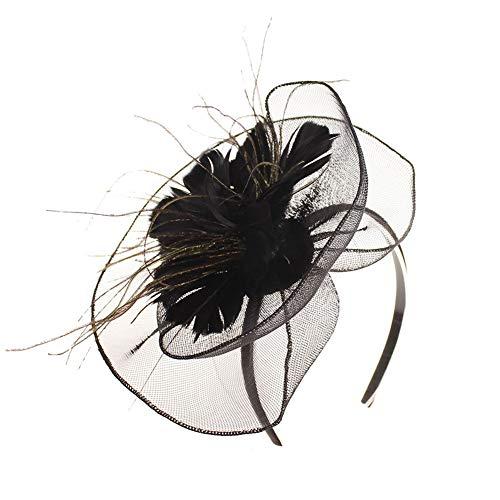 ut Damen Tea Party Kostüm Stirnband Kopfschmuck Hochzeit Cocktail Jockey Club Blume Haarspange Headwear Braut Hair Clip Feder Haarschmuck Kopfbedeckung ()