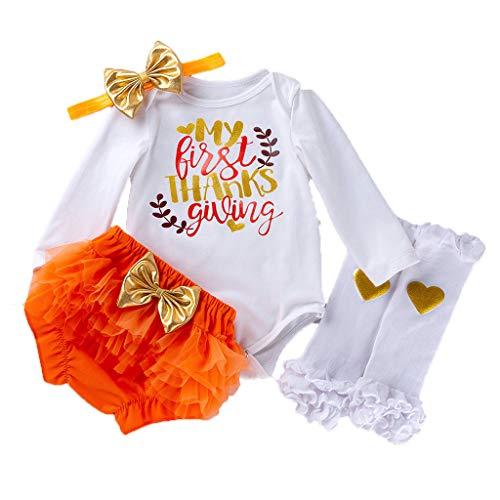 Cuteelf Baby Mädchen Kostüm Thanksgiving Day Overall Strumpfhosen Shorts Beine warme Kleidung Brief Cartoon Print Haber + PP Hosen + Haarband + Bein Socken Satz von Vier - Theater Kostüm Typ