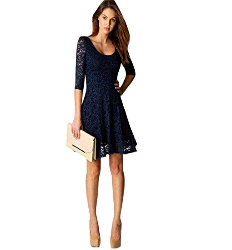 Rcool Damen elegante Spitze drei Viertel Party schlanke Abendkleid O-Ausschnitt Blau (L)