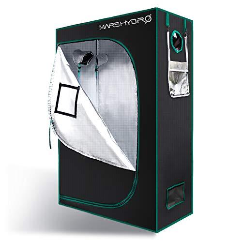 MarsHydro Growbox Growzelt Set 120 x 60 x 180 cm Reflective luftig Wasserdicht für groß Zimmerpflanzen