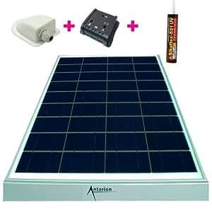kit panneau solaire 140w 12v monocristallin pour camping car regulateur cable fixation. Black Bedroom Furniture Sets. Home Design Ideas