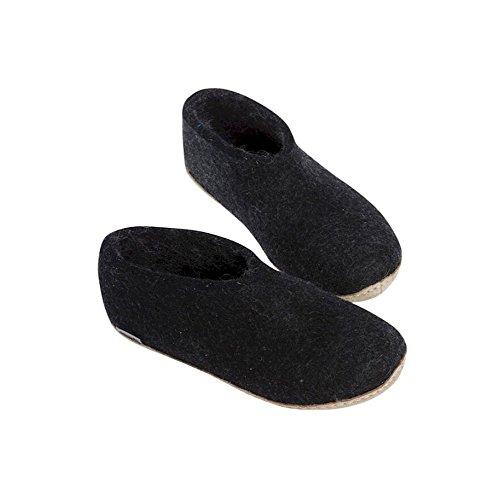 Glerups - Chaussons en laine gris foncé - Noir