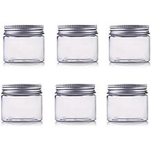 erioctryJuego de 6 recipientes vacíos de plástico PET, con tapa de aluminio plateado, 50