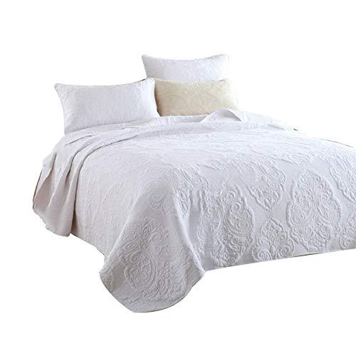 gesteppt Tagesdecke Bettüberwurf Sofa Überwurf Uni Natur einfarbig Übergröße Doppelbett (230 x 250 cm, Weiß)