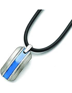 Titan Ti gebürstet grau-blau eloxiert Kautschukkette JewelryWeb Halskette 50,8 cm