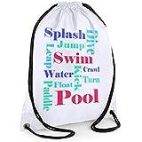 Swimming bag,Boys Swim Bag,Boys Text Bag, White Sports Bag,Kids Sports Bag