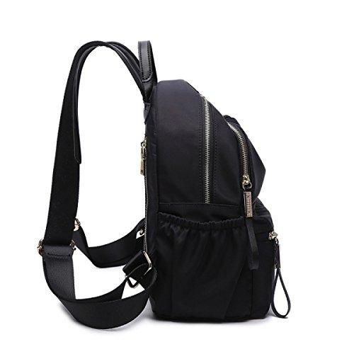 Damen Schultertasche Doppelschicht Praktisch Große Kapazität Oxford Tuch Mit Leder Trend Mädchen Mode Sport Black