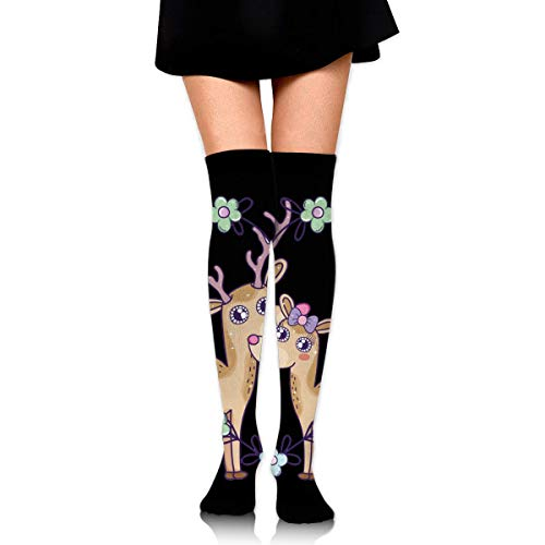 White Heart Lace Socken (saibing Deer Couple with Heart Shape and Flowers Customized Long Full Length Socks for Running, Sports, Travel, Cycling, Traveling,3.35