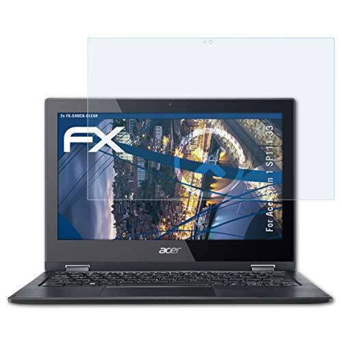 atFolix Schutzfolie kompatibel mit Acer Spin 1 SP111-33 Panzerfolie, ultraklare & stoßdämpfende FX Folie (2X)