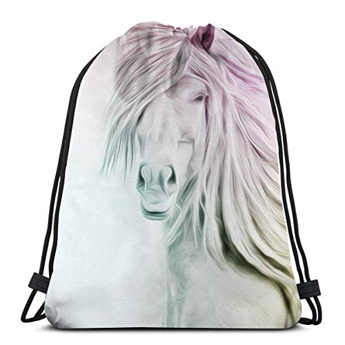 kjhglp Drawstring Backpack Bag,Cinch Sack,Gym Sack,for Girls Or Men Shopping,Sport,Gym,Yoga,School,White Horse