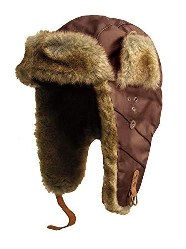 Kakadu Traders Flieger-Mütze Wintermütze Inlander aus Leder mit Kunstfell- Herren Damen Größe L Mocca -