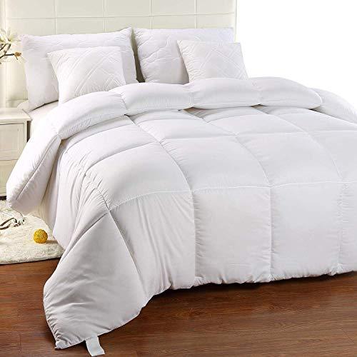 Utopia Bedding Bettdecke - Warm Zudecke 1900g Füllung - Microfaser Antiallergisch für Allergiker - Gesteppte Steppdecke (Weiß, 220 x 240 cm)
