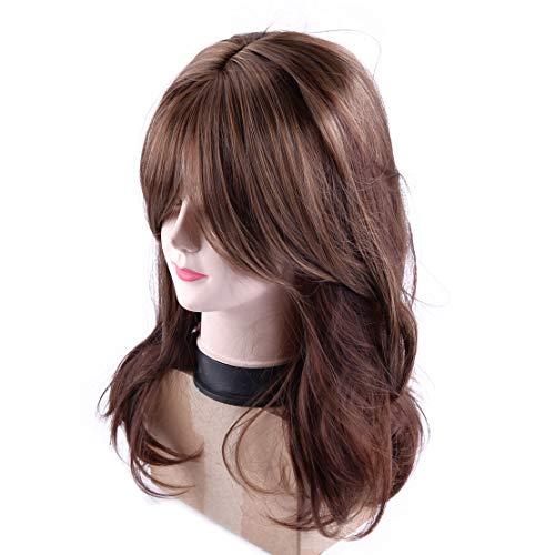 LETAOSK Damenmode Lange braune gewellte lockige Haarperücken Cosplay Kostüm Party Vollständig