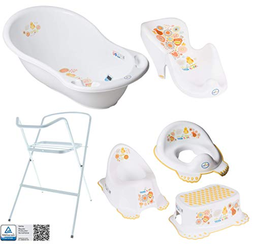 Baby Bathtub with Frame and Bath seat - Various Sets for Newborns with Baby bathtubs + Stand + Drain + Bath seat + Potty + Toilet Trainer + Stool. Tüv Rhineland Tested!