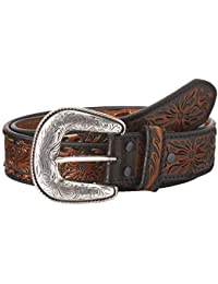 Ariat Western Mens Belt Leather Pierced Underlay Floral Laced Brown A10304107