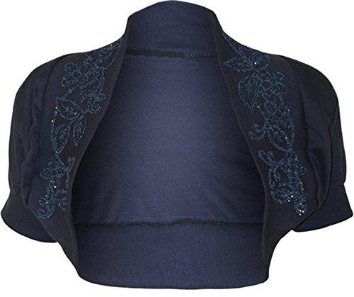 Fashion Charming, coprispalle da donna con decorazione floreale di perline, lustrini, decorazione in rilievo, cardigan bolero a mezze maniche, top blu navy