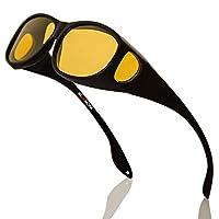 Bloomoak Gepolariseerde nacht over bril, anti-glans UV 400 bescherming voor mannen vrouwen - gepolariseerde wrap rond recept brillen - pak voor rijden/vissen/golf (nachtzichtlens)