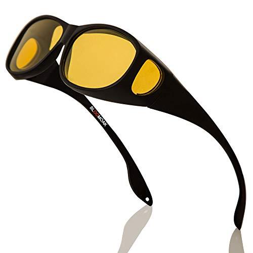 Nachtsichtbrille für Männer & Frauen Brillenträger geeignet / umlaufende Korrekturbrillen / polarisierte gelbe Linse / blendfreier UV 400-Schutz / Geschenkverpackung