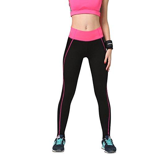 Dolamen Leggings Sport Femme, Yoga Gym Fitness Sport Pantalons vetements pour Femme, Costume avec ceinture élastique large finement souple Rose