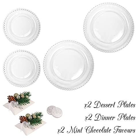 Bella Perle Dinner Party for Two - Set of Two Dinner Plates and Two Dessert Plates - Gift Set with Two Boxes of Luxury Mint Chocolate Medallions - High Quality Luxury Glassware with Beaded Edge - As Used By Nigella Lawson - Perfect for Christmas/Boxing Day/New Years Dinner Party Setting for Two -
