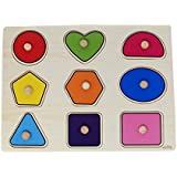 Parteet Wooden Colorful Learning Shapes Board For Kids With Knobs, Educational Learning Wooden Tray