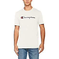 Champion Classic Logo T-Shirt pour Homme, Blanc (Vapy), XX-Large (Taille Fabricant: XXL)