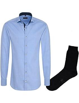 ETERNA Herrenhemd Slim Fit, hellblau, Fein Oxford + 1 Paar hochwertige Socken, Bundle