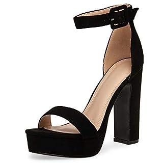 Caspar SBU018 Damen High Heel Plateau Sandalette, Farbe:schwarz, Größe:40 EU